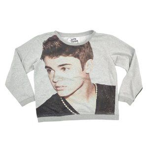 Justin Bieber Sweatshirt Women's XL Gray Graphic